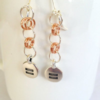 Equality Chainmail Copper Earrings - Handmade, Silver Tone, Lever Back, Symbolic, LGBT, Lesbian, Gay, Bisexual, Transgender, Genderfluid