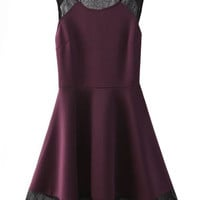 Purple hollow out lace sleeveless dress