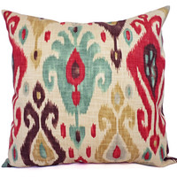 Two Ikat Couch Pillow Covers - Red and Brown Ikat Throw Pillows - 20 x 20 Inch Decorative Throw Pillow Cushion Cover - Ikat Pillow Cover