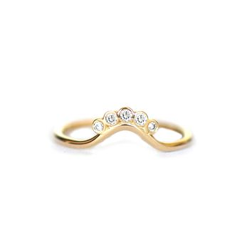 14kt Gold Diamond Sunrise Ring