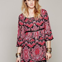 Free People Womens Printed Square Neck Tunic - Black Combo, 2