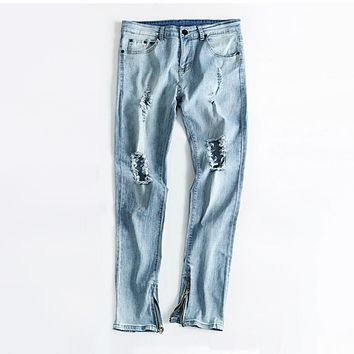 Fashion Style Washed Baggy Ripped Jeans With Holes