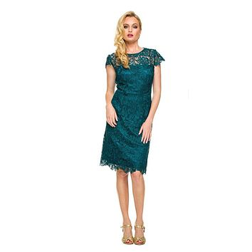 CLEARANCE - Short Vintage-Like Lace Dress Emerald Green Cap Sleeves (Size 3XL)