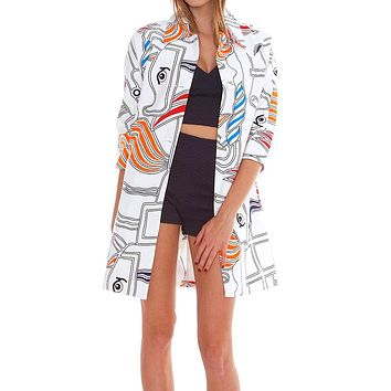 Brand New World Coat - White Print