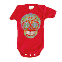 Red Mendhi Skull Trendy baby clothes. Hippie Baby 3 12 18 24 months Baby Shower gift boy girl Hipster 1 year 2 year