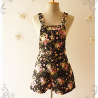 Summer Play Floral Overall Shorts Overall Jumper Summer Overall Floral Jumper Black Brown with Pink English Rose -Size XS-