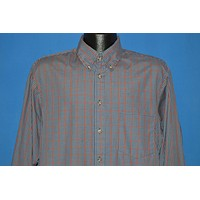 70s Red Blue Plaid  Check Button Down shirt Large