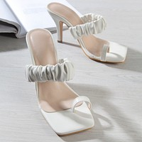 2020 new women's solid color white high heels flip flops sandals and slippers shoes