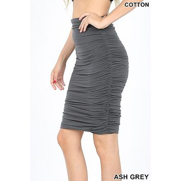High Waisted Slim Fit Cotton Shirred Pencil Midi Skirt