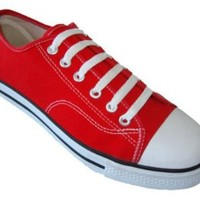 Womens Classic Canvas Shoes Sneakers 6 Colors (8, Red 327L)