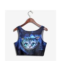 Cheshire Cat Digital Print Crop Top Camisole Tank