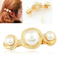 Gold Plated Big Pearl Barrettes Wedding Hair Accessories