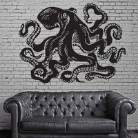 Octopus Ocean Marine Sea Decor Wall Mural Vinyl Art Decal Sticker M485