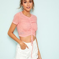 Drawstring Ruched Front Crop Top