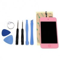 Touch 4th Gen LCD Digitizer Glass Screen Assembly, Home Button, Tools and Adhesive-Hot Pink