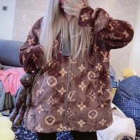 Louis Vuitton fashion hot sale jacquard logo coral fleece warm jacket + cute dog accessories