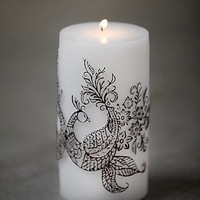Free People Womens Henna Peacock Pillar Candle