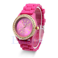 Womens Girl Analog Quartz Wrist Watch Jelly Golden Crystal Silicone Watch