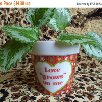 ON SALE Love grows on me flower pot/ vintage small glass flower pot/ red with hearts and daisies flower pot/ tiny pot for plants/ hippie flo