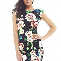 Black Rose Print Capped Sleeve Scoop Back Mini Dress