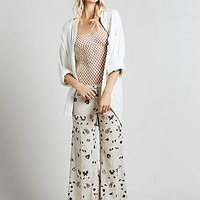 Free People Womens Amber Palace Embroidered Wideleg - Ivory
