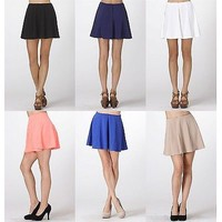 Solid Colors High Waist A-Line Flared Pleated Flirty Skater Mini Skirt Waistband