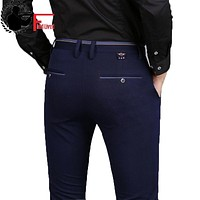 Spring Non-Iron Dress Men Classic Pants Fashion Business Chino Pant Male Stretch Slim Fit Elastic Long Casual Black Trouser