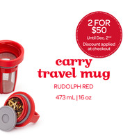 Rudolph Red Carry Travel Mug - A Sleek, Leakproof Travel Mug, In A Bright Red | DavidsTea