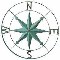 Nautical Aqua Blue Wall Art Rose Compass - 30-in Midwest CBK