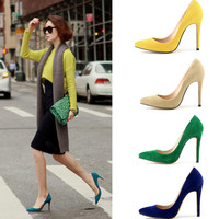 High Heel Candy Sweets Pointed Toe Suede Shoes = 4814805956