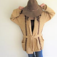 Vintage Hippie Boho Brittania Tan and Brown Bell Sleeve Oversize Cardigan Sweater