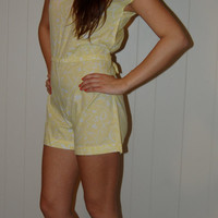 Vintage 80s Yellow and White Cute Romper With Tie Women Medium