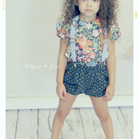 PREORDER Autumn Fields Peter Pan Collar Blouse in Navy Floral from the Fleur and Dot Autumn Winter 13 Collection