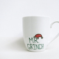 Grinch Coffee Mug - Mr Grinch Mug - Grinch Mug with Santa Hat in Red and Green - Coffee Cup - Tea Cup - Black and White Mug