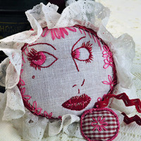 Handmade Pincushion, Embroidered, Made from Antique Materials, Emery Pillow