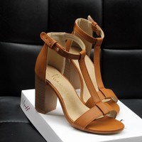 Open Toe Ankle Wrap Solid Color High Chunky Heels Sandals