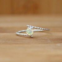 Opal Silver Ring Cute Birthstone Rings Handmade Jewelry