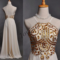 Long White Backless Prom Dresses,Gold Crystal Beaded Prom Dresses,Ball Grown Evening Dresses,Bridesmaid Dresses,Homecoming Dresses