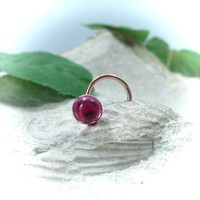 Nose Stud Pink Sapphire Gold