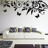 Vinyl Wall Decal Beautiful Sprig Pattern with Leafs & Butterflies / Nature Art Decor Sticker / Forest DIY Mural + Free Random Decal Gift!