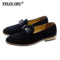 Modern Men Mocassin Genuine Leather Wedding Party Evening Suede Loafers Casual Dress Shoes With Bow Tie Men's Flats