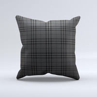 Black Luxury Plaid Ink-Fuzed Decorative Throw Pillow