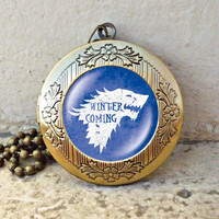 Game of Thrones Necklace House Stark Winter is Coming Pendant with Chain vintage pendant locket necklace - ready for gifting