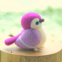 Needle felted bird figurine, handmade wool sculpture bird doll, Blushing bird collection - purple color, home decor ornament, gift under 30