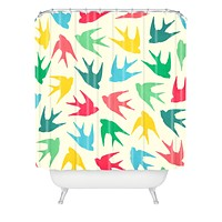 Jacqueline Maldonado Birds Multicolor Shower Curtain