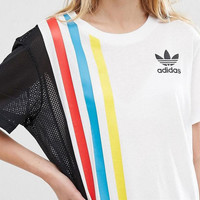 Adidas Women Casual Stripe Multicolor Gauze Tunic Shirt Top Blouse