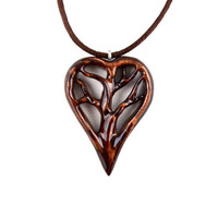 Wooden Tree of Life Pendant, Wooden Heart Pendant, Wood Heart Necklace, Tree of Life Pendant, Wood Jewelry, 5th Anniversary Gift for Her