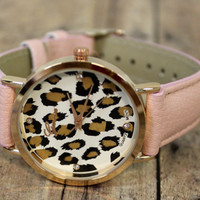 Blush Pink leopard womans Wrist watch accessory jewelry Fashion Rhinestone watch fashion accessories by Hot 2 Own