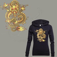 DRAGON BALL Gold Dragon stickers 27*25cm iron on patch T-shirt Sweater thermal transfer paper Patch for clothing