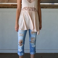 Sea Waves Peach Front Lace Blouse